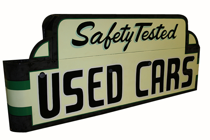 Beautifully restored 1930's Used Cars single-sided tin painted dealership sign. - Front 3/4 - 163255