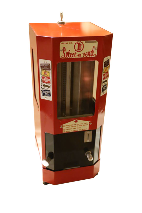 Very clean 1950's Select-O-Vend once cent chocolate bar vending machine.  Impressive all original condition. - Front 3/4 - 163258
