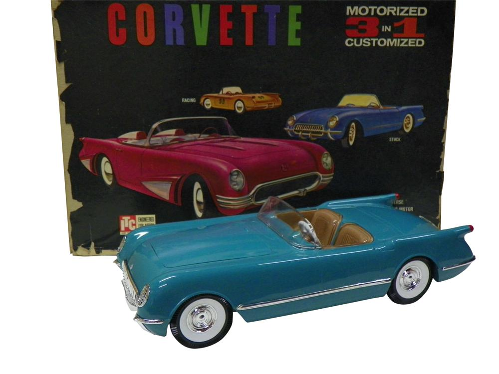 1953-1955 Ideal Toys Corvette built from a N.O.S. kit.  Molded in blue plastic not painted. - Front 3/4 - 163263