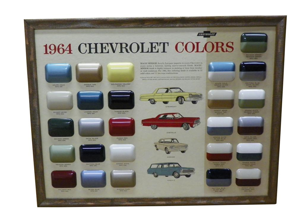 Sharp 1964 Chevrolet Dealer showroom display paint chip board.  All original! - Front 3/4 - 163265