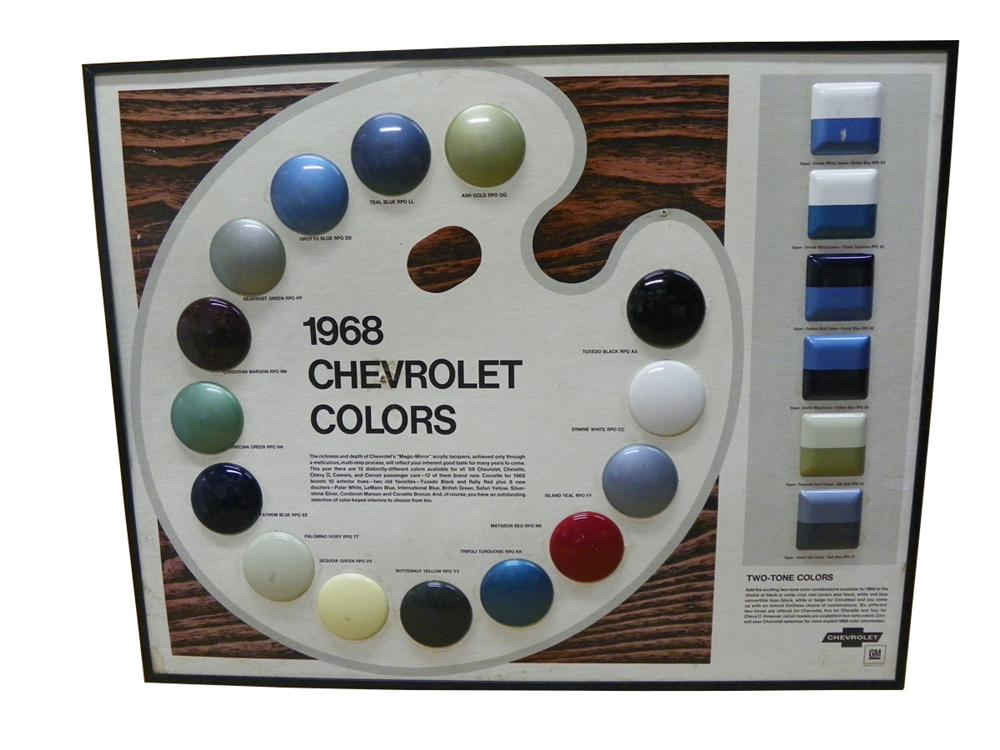 Wonderful 1968 Chevrolet Dealership showroom display paint chip board.  All original! - Front 3/4 - 163267