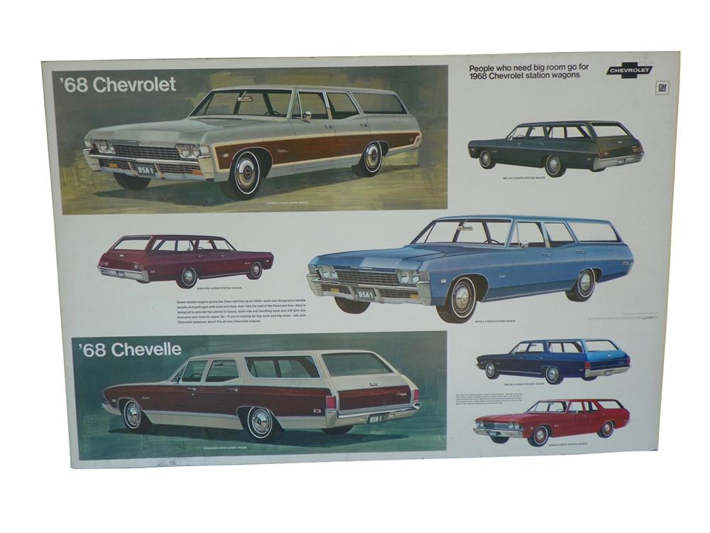 1968 Chevrolet Dealership showroom poster featuring 1968 station wagon models. - Front 3/4 - 163268