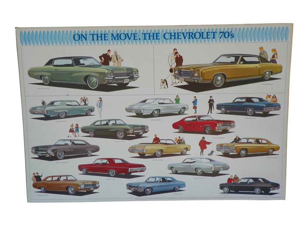 "N.O.S. 1970 Chevrolet ""On the Move"" Showroom poster depicting the entire line-up. - Front 3/4 - 163271"