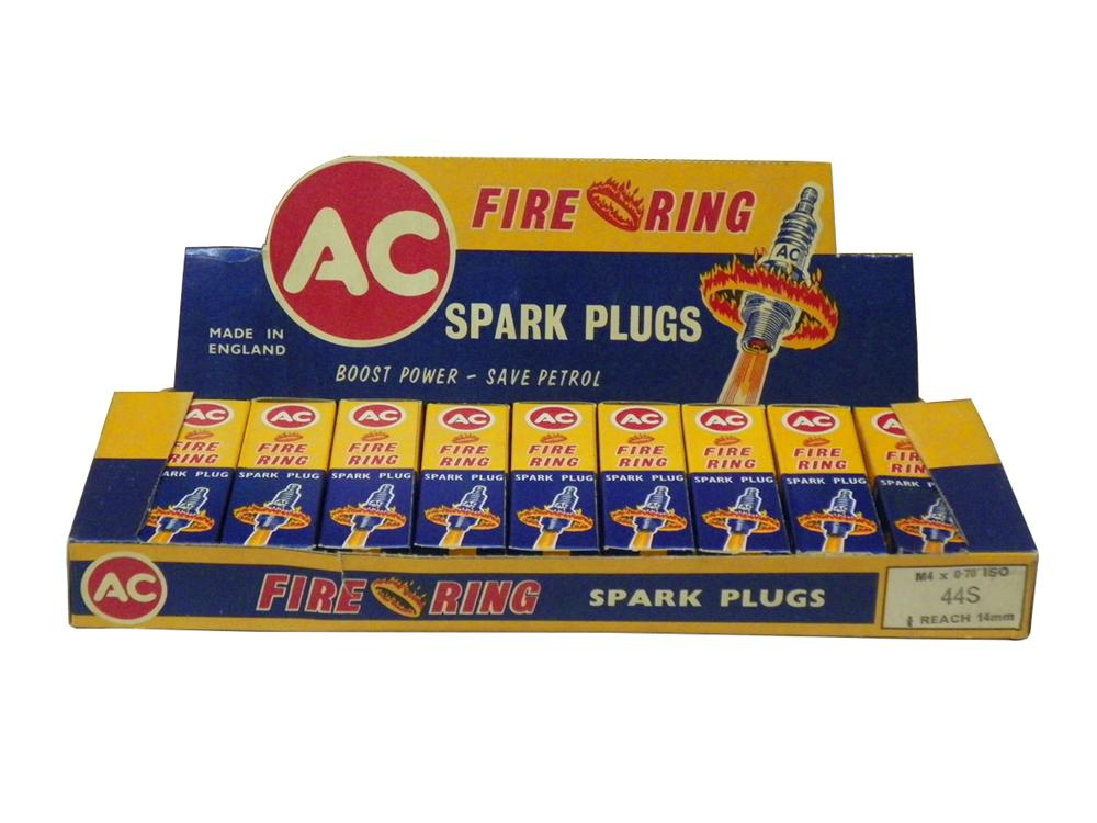 Sharp N.O.S. AC Fire Ring Spark Plugs counter-top store display still full of original unused spark plugs. - Front 3/4 - 163277