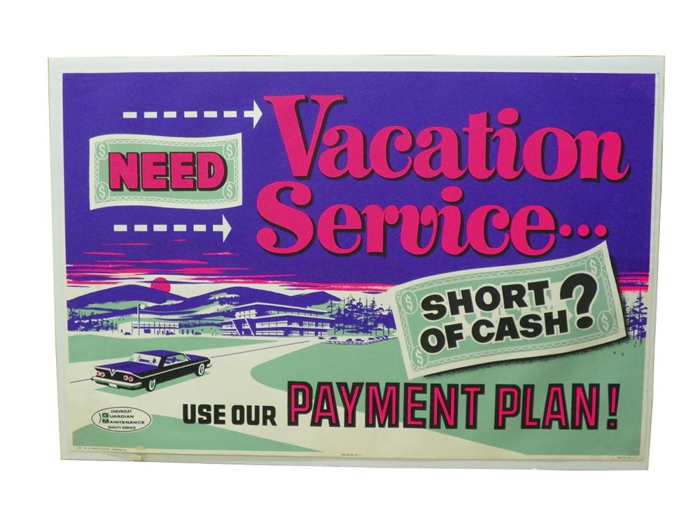 "N.O.S. 1962 Chevrolet ""Need Vacation Service"" service department poster.  Great colors! - Front 3/4 - 163285"