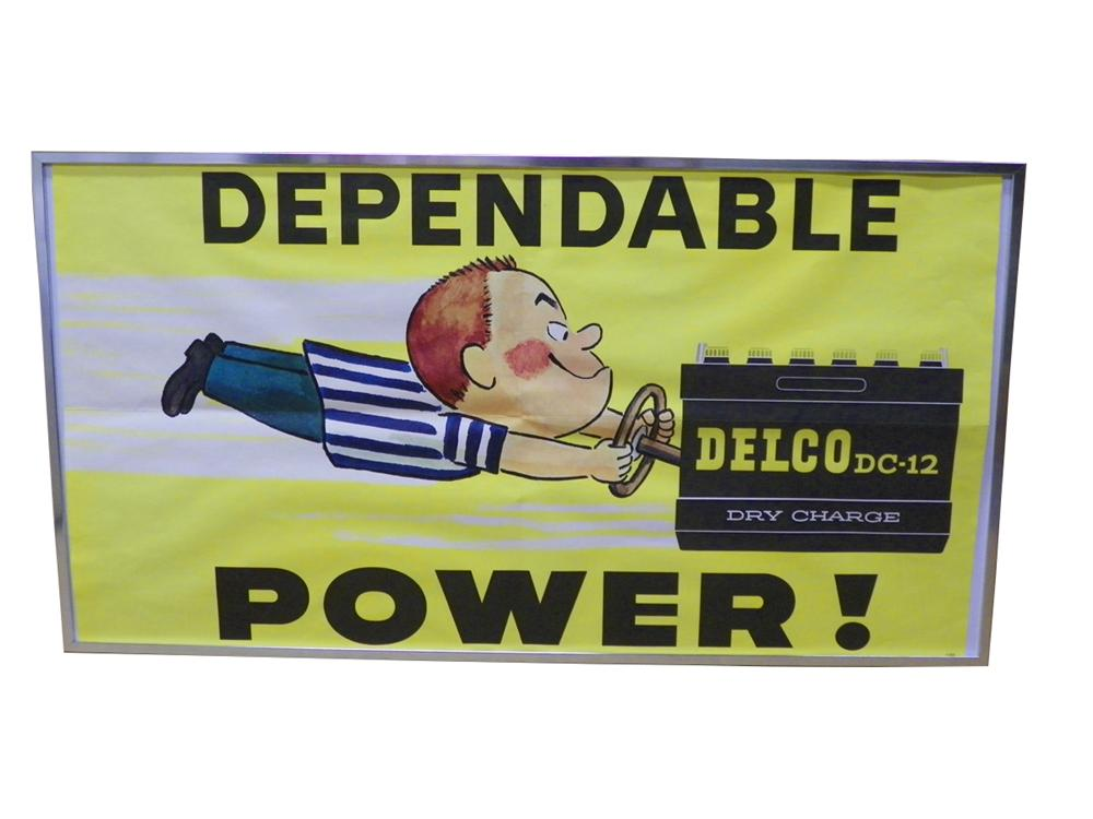 N.O.S. 1960's Delco Battery Poster with original frame.  Never used! - Front 3/4 - 163288