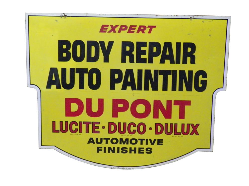 DuPont Body Repair - Auto Painting double-sided tin automotive garage sign. - Front 3/4 - 163291