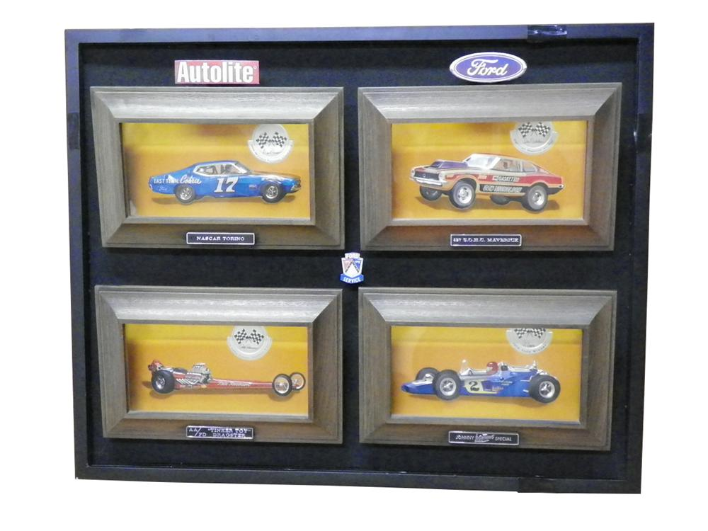 Fantastic 1960 Ford Autolite dealership showroom display with race cars in glass cases. - Front 3/4 - 163293