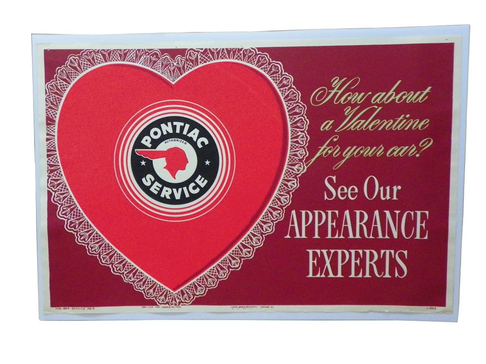 "Rarely seen N.O.S. 1954 Pontiac Service Department ""A Valentine for your Car"" serice department poster. - Front 3/4 - 163294"