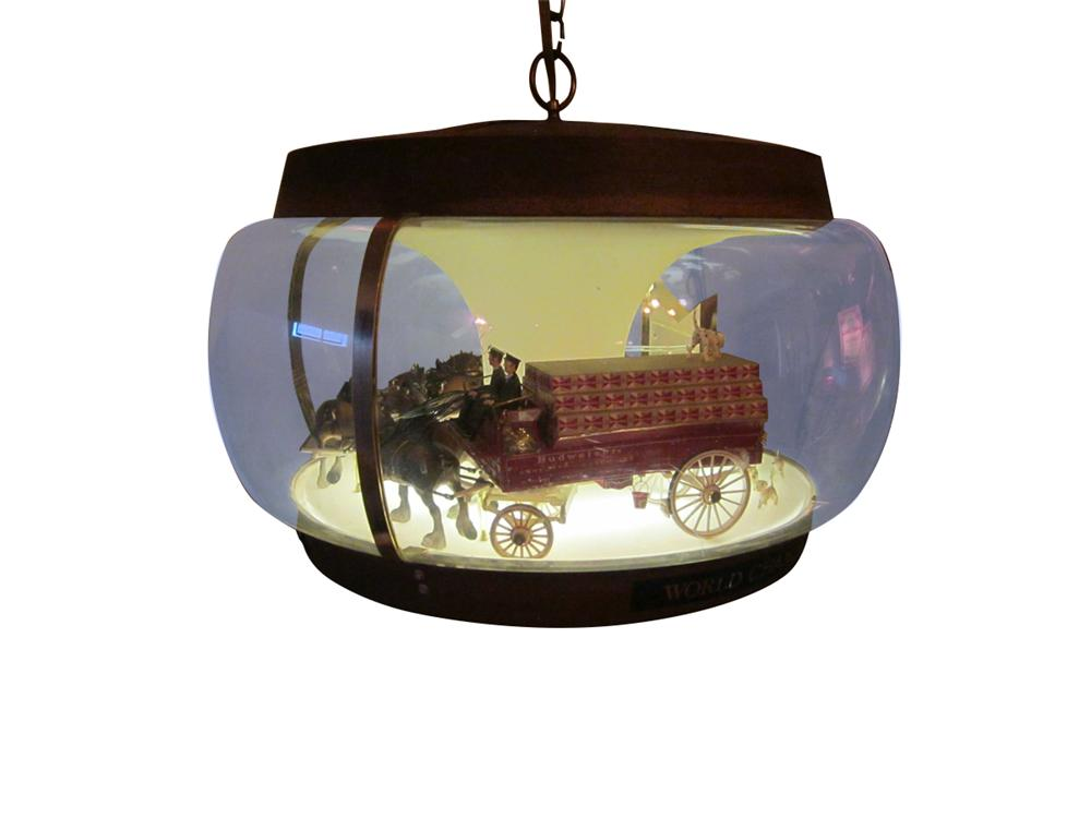 Nifty vintage Budweiser hanging lighted carousel sign with Clydesdale Beer Wagon depicted.  Lights and turns. - Front 3/4 - 163297