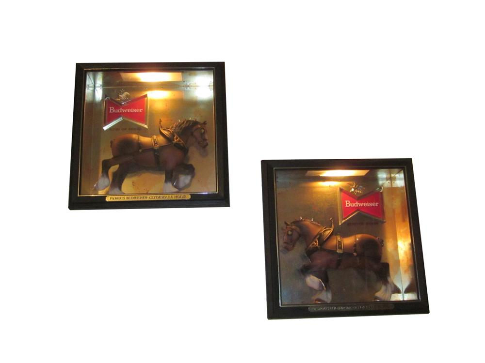 Lot of two square lighted shadow boxes with an Iconic Clydesdale in each box. - Front 3/4 - 163298