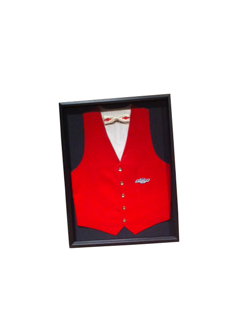 Original 1950's Chevrolet Dealers Salesman's vest and Chevrolet clip-op bowtie.  Shadow box framed for display. - Front 3/4 - 163309