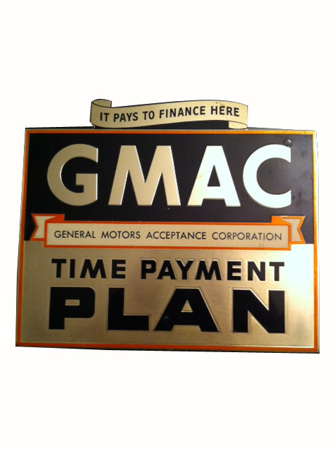 1950's Chevrolet Dealer GMAC Aluminum easel backed sales counter sign. - Front 3/4 - 163310