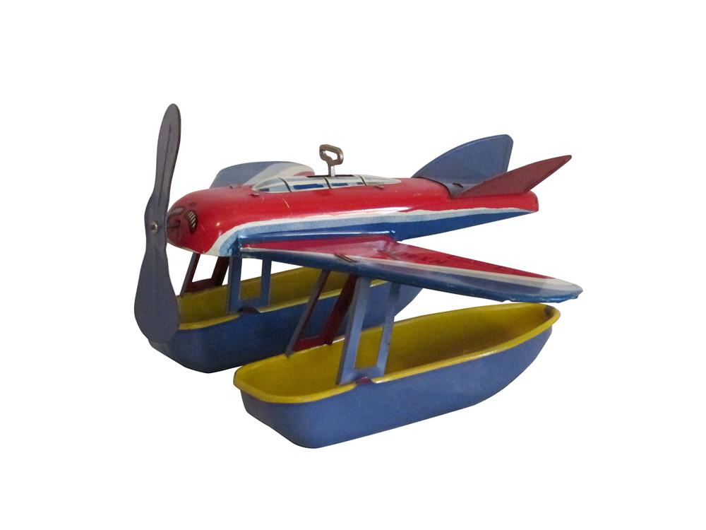 1950's tin litho wind up pontoon Sea plane toy . - Front 3/4 - 163318