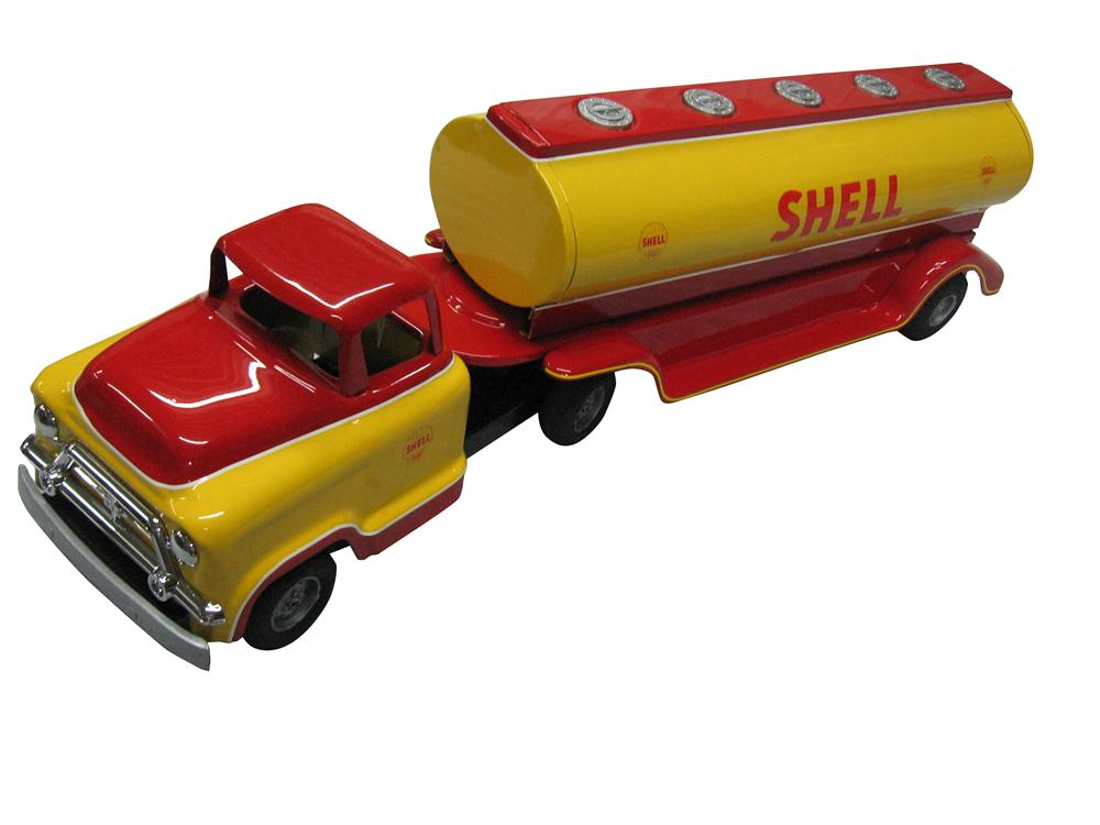 1950's Buddy L Shell Toy Tank Truck with beautiful base coat/clear paint restored finish. - Front 3/4 - 163324