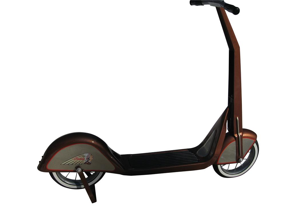 Professionally restored Childs Art Deco scooter restored in Indian Motorcycle regalia. - Front 3/4 - 163325