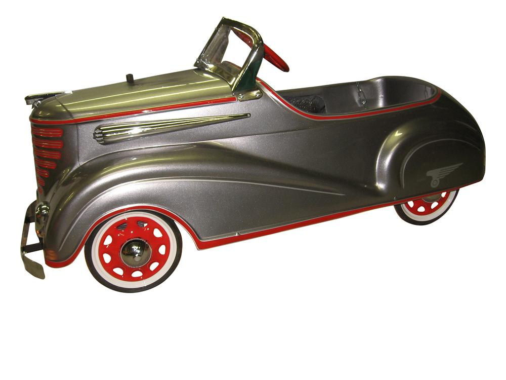 Miniature master piece hand built one-of-a-kind Auburn Pedal car converted into a pool table light. - Front 3/4 - 163327