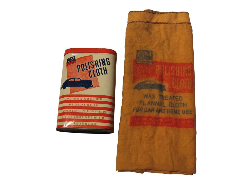 1940's GM Polishing Cloth and Tin.  Graphics on cloth and can are incredible. - Front 3/4 - 163330