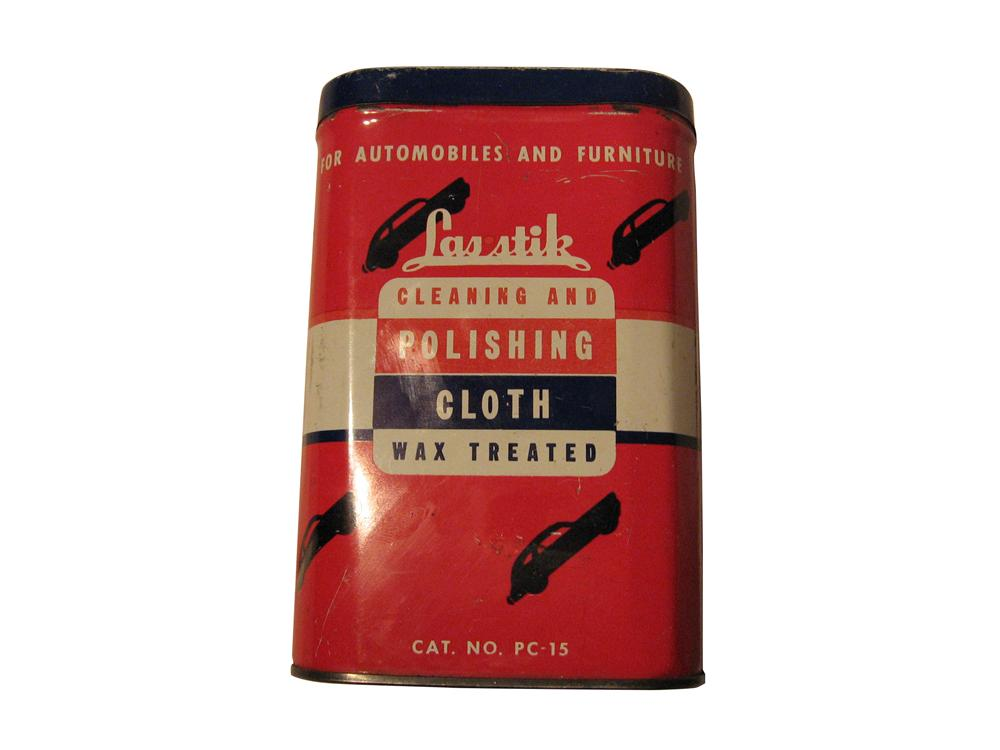 1930's Lasstik Cleaning and polishing cloth and tin.  Polishing cloth is still in can. - Front 3/4 - 163332