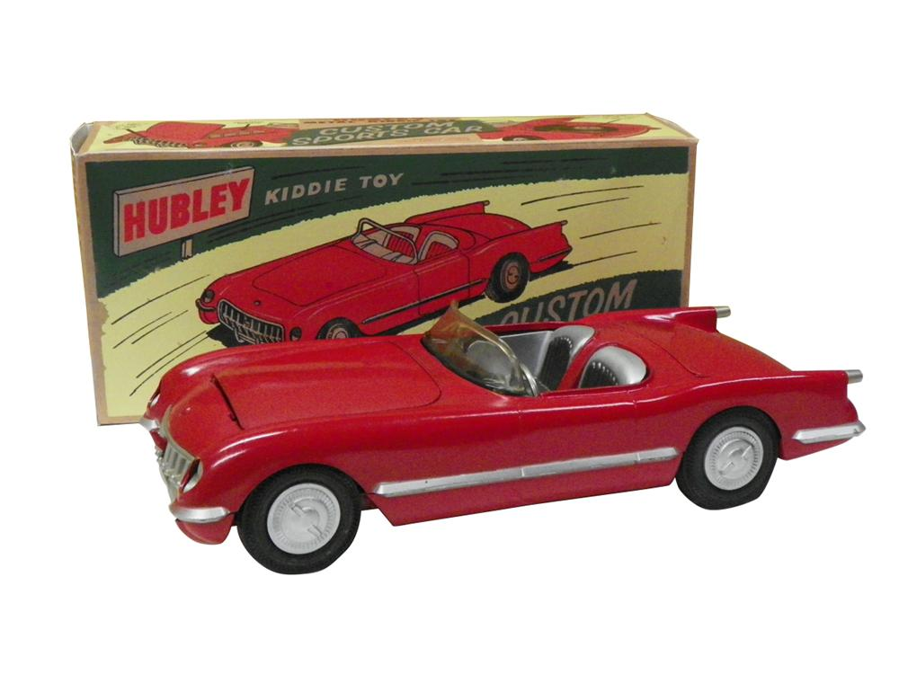 1954 Corvette by Hubley toys metal body sports car that's been restored. - Front 3/4 - 163336