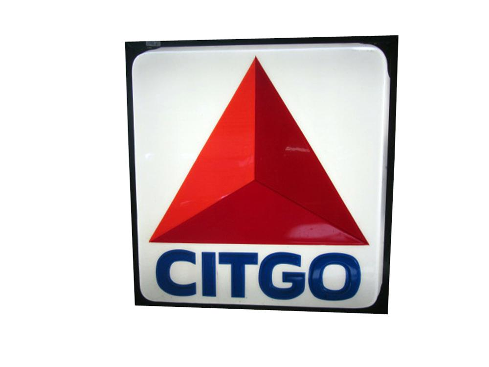 Sharp Citgo Gasoline single-sided light-up service station sign.  Lights and works perfectly! - Front 3/4 - 163338