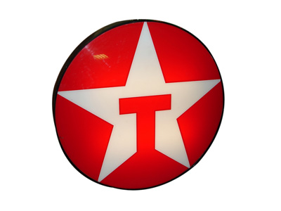 Sharp Texaco Oil single-sided light-up service station sign.  Lights perfectly! - Front 3/4 - 163340