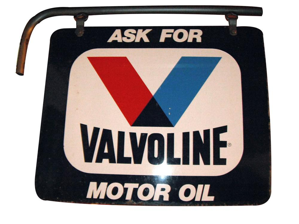Nice 1960's-50's Valvoline Motor Oil double-sided tin garage sign with original hanging bracket. - Front 3/4 - 163423
