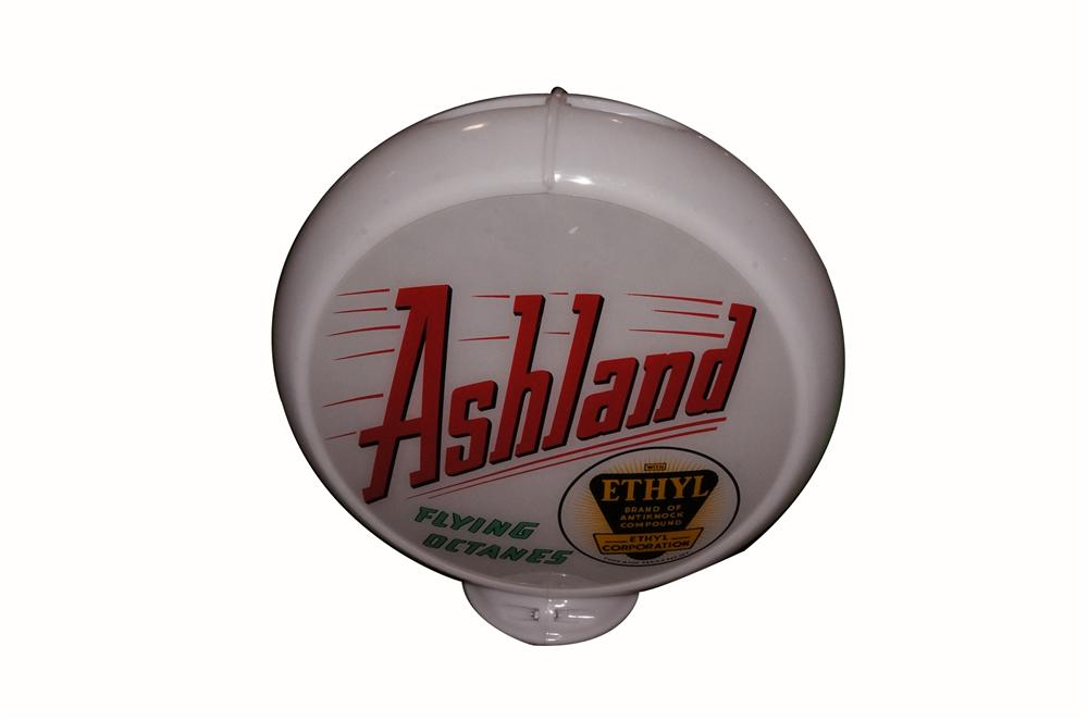 Scarce 1940's-50's Ashland Flying Octanes glass lens gas pump globe with Capcolite body.  Condition: 9.25+ - Front 3/4 - 163424
