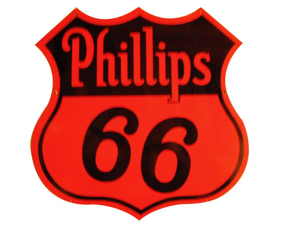 """Near Mint 1940's Phillips 66 double-sided porcelain garage sign.  Perfect size!  Size 30""""x30"""" - Front 3/4 - 163427"""