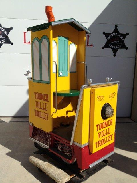 Addendum Item - Nifty Tooner Ville Trolley coin-operated kiddie ride.  Works great! - Front 3/4 - 166553