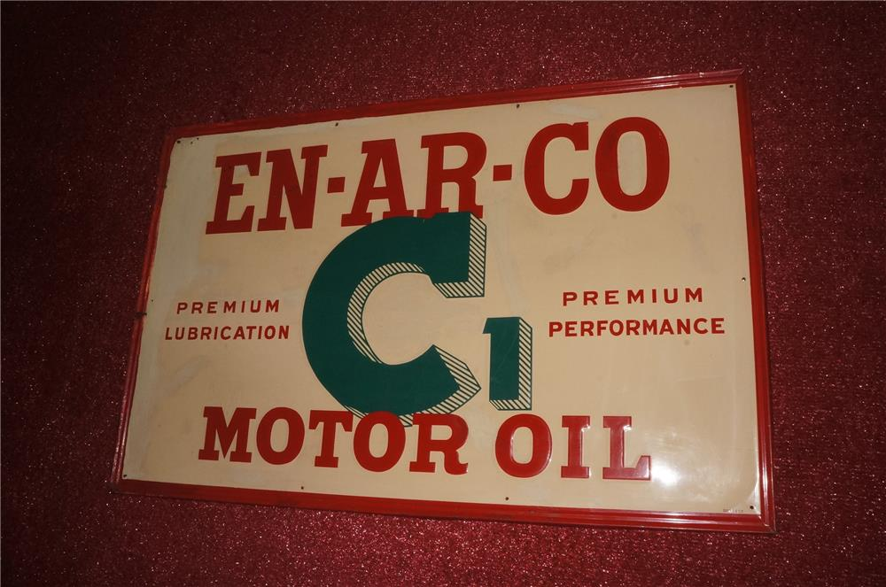 Addendum Item - 1940's Enarco C1 Motor Oil self-framed horizontal tin garage sign. Exhibits with some touch-up. - Front 3/4 - 166556