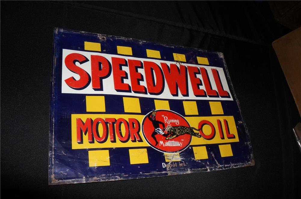 Addendum Item - Highly desirable Speedwell Motor Oil single-sided embossed tin sign with graphics. - Front 3/4 - 166573
