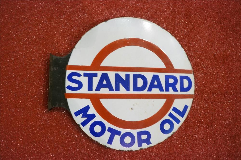 Addendum Item - Impressive 1930's Standard Motor Oil double-sided porcelain service station flange sign. - Front 3/4 - 166614
