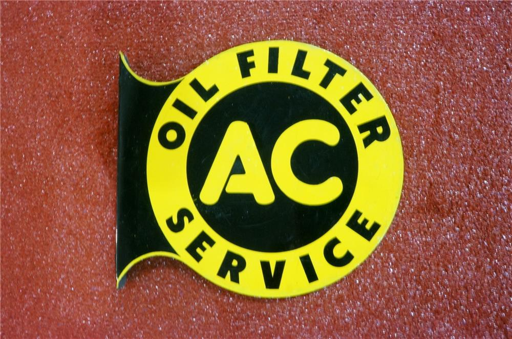 Addendum Item - 1940's AC Oil Filters double-sided tin flange sign.  Reverse side has been painted. - Front 3/4 - 166616