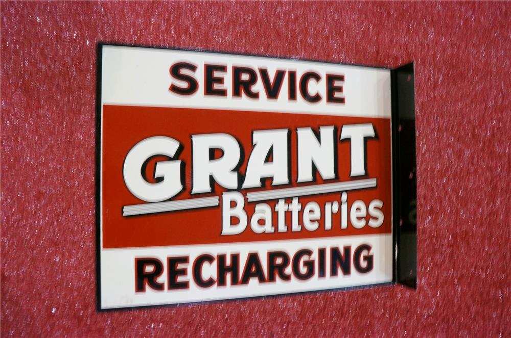 N.O.S. 1950's Grant Batteries double-sided tin garage flange with battery graphic. - Front 3/4 - 166619