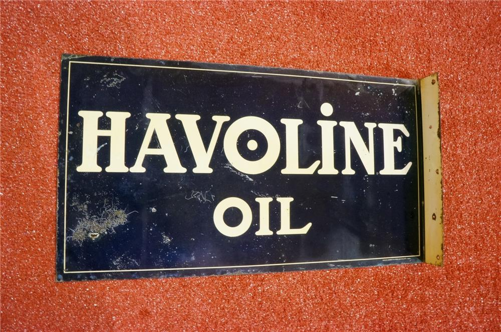 Extremely rare 1920's Havoline Motor Oil double-sided over-sized tin garage flange. - Front 3/4 - 166620