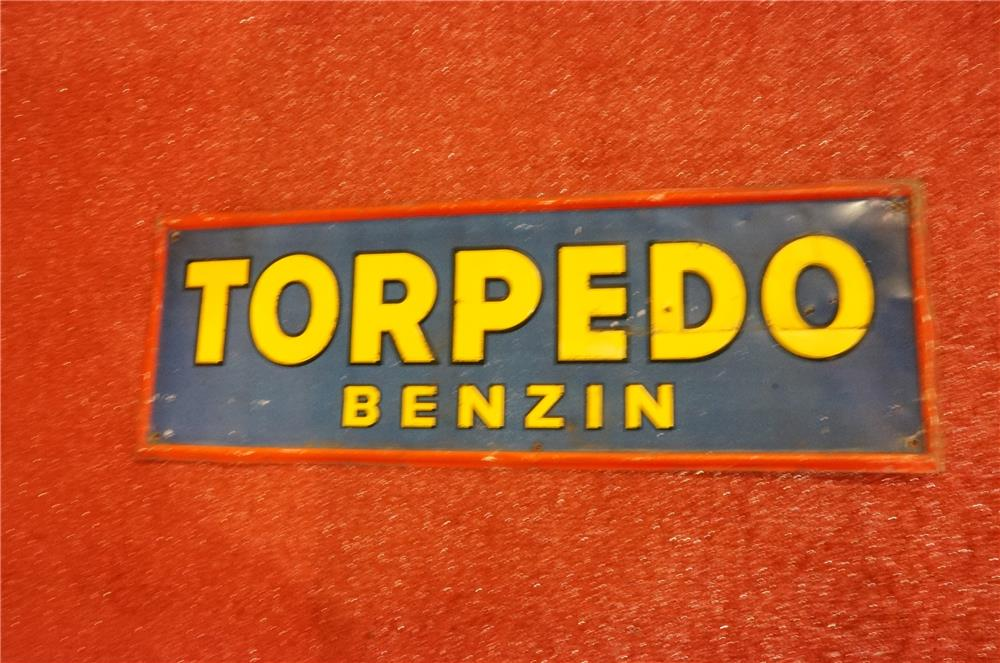 Early 1930's Torpedo Benzin Gasoline self-framed tin automotive garage sign. - Front 3/4 - 166621