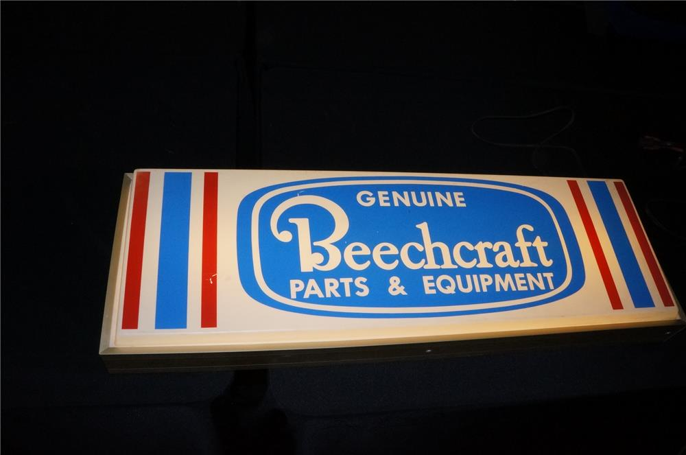 Addendum Item - Rare 1960's Beechcraft Airplane Parts and Equipment light-up hanger sign. - Front 3/4 - 166623