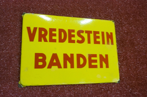 "Addendum Item - 1950s Vredestein Banden ""Tires"" single-sided porcelain Dutch automotive garage sign. - Front 3/4 - 166639"