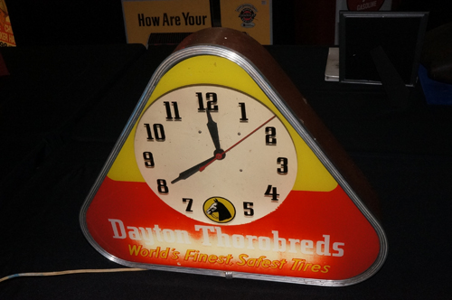 Addendum Item - 1950's Dayton Thorobreds Tires glass faced light-up automotive garage sign. - Front 3/4 - 166640