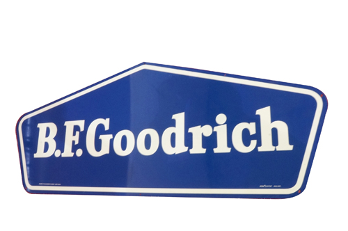 "Addendum Item - N.O.S. B.F. Goodrich single-sided tin sign.  Found in the original shipping sleeve. Very clean!  Condition: 9.5+  Size 59""x24"" - Front 3/4 - 166647"