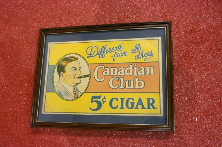 Addendum Item - Circa 1920's Canadian Club Cigars general store display cardboard sign.  Displays framed. - Front 3/4 - 166651