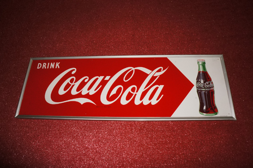 Addendum Item - Stunning N.O.S. 1954 Drink Coca-Cola horizontal tin sign with bottle graphic. Found unused! - Front 3/4 - 166653