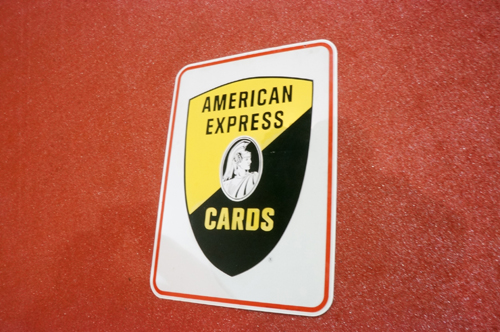 Addendum Item - Fantastic vintage American Express Cards double-sided tin service station sign with shield logo. - Front 3/4 - 166693