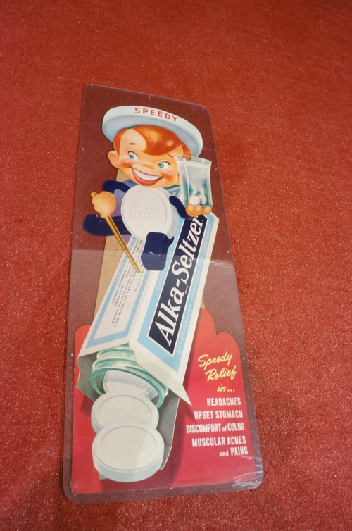 "Addendum Item - Large N.O.S. 1950's Alka Seltzer ""Speedy"" die-cut cardboard store sign with easel back. - Front 3/4 - 166695"