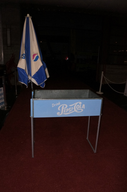 Addendum Item - Restored 1950's Pepsi-Cola special events ice cooled bottle cooler with newer umbrella. - Front 3/4 - 166733