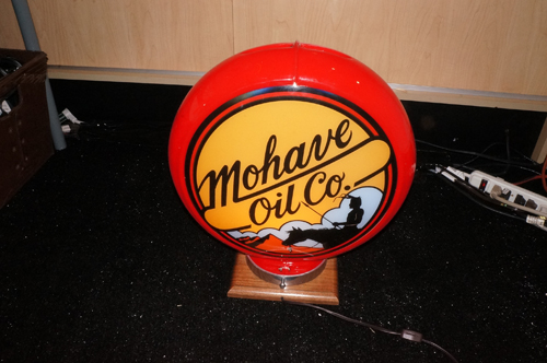 Rare newer Walt Disney Mohave Oil gas pump globe. Only 12 made for the M.G.M. Studio Tour.  Extremely collectible. - Front 3/4 - 166758