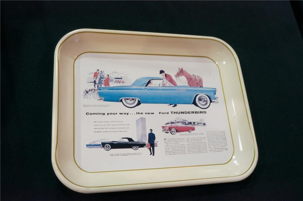 Addendum Item- 1950's The New Thunderbird Coming Your Way dealer promotional serving tray with great graphics! - Front 3/4 - 167414