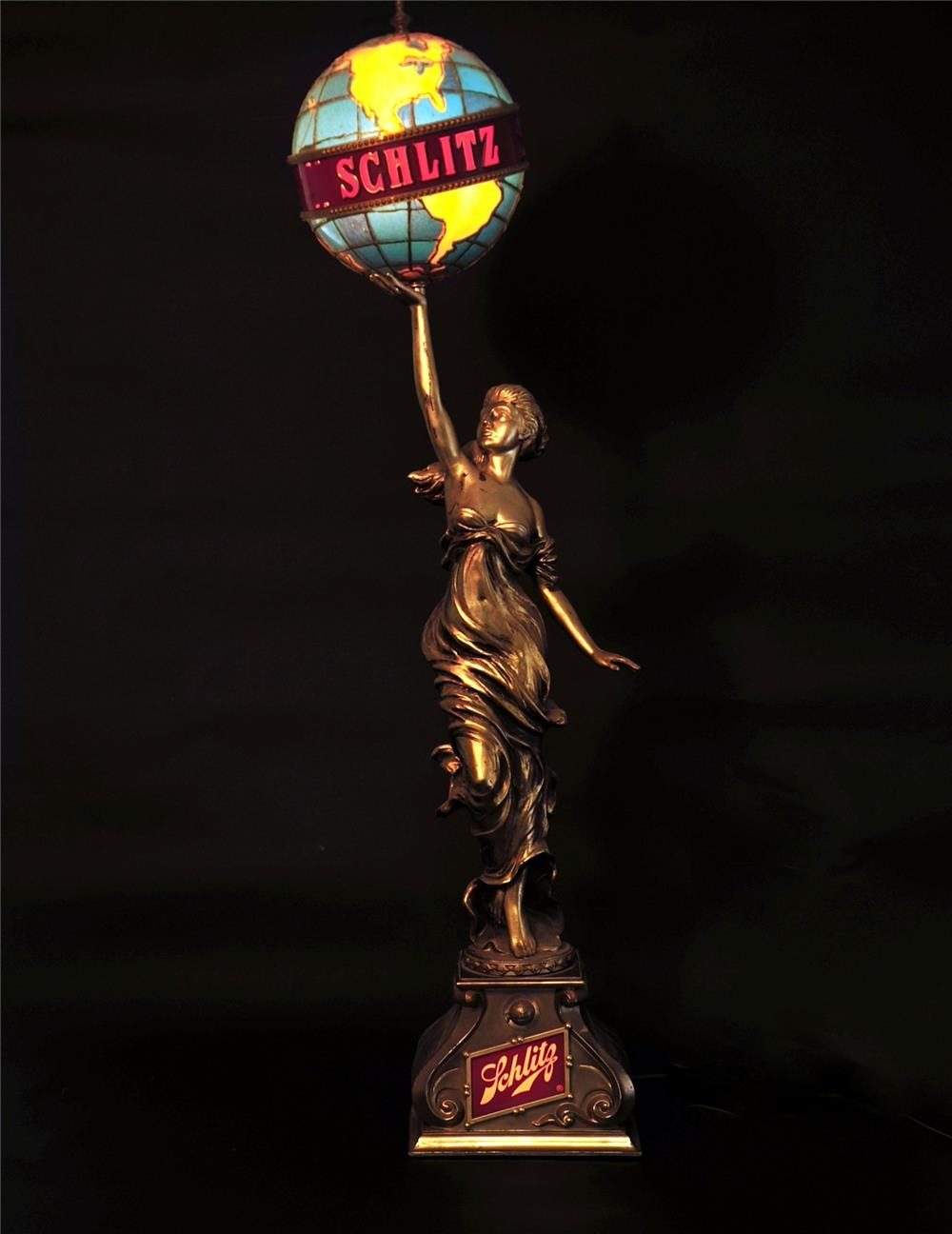 Addendum Item - Stunning vintage Schlitz Beer maiden holding the world globe light-up tavern sign.  Beautiful! - Front 3/4 - 168074