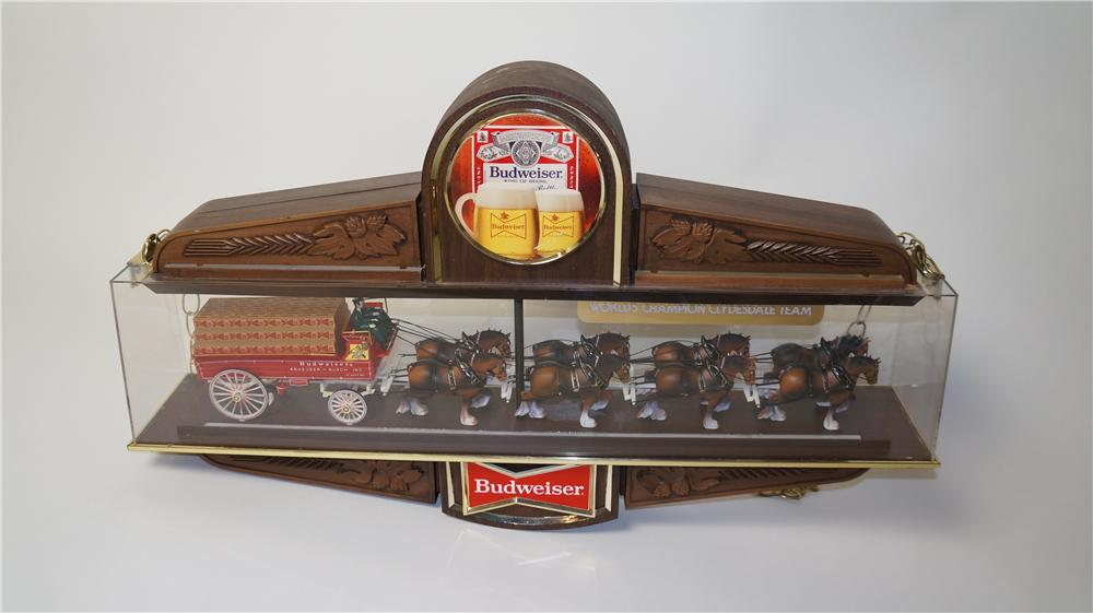 "Magnificent vintage Budweiser Beer Clydesdale Beer wagon three-dimensional advertisement.  Rare non-lit version.  Condition: Near Mint  Size 34""x20""x5"" - Front 3/4 - 170508"